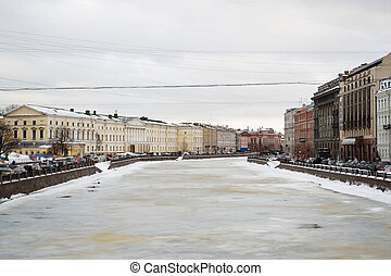 River Fontanka at winter, St.Petersburg, Russia