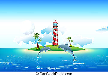 Sea view with Dolphin and Lighthouse - illustration of sea...
