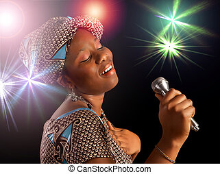 African woman singing - Stage performance of a young Ghanese...