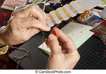 Creative christmas cards - Hands of a woman crafting and...