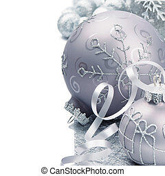 Christmas balls on silver background - Christmas balls on...