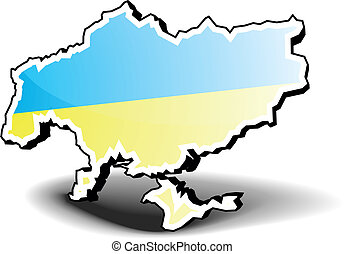 Ukraine 3D Map - 3D illustration of Ukraine with flag, eps8...