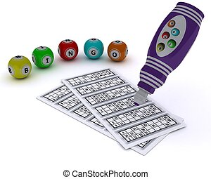 Bingo balls and card with dabber pen - 3D render of a Bingo...