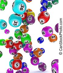 a set of colored bingo balls - 3d render of a set of colored...