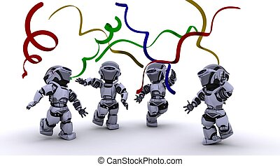 Robots celebrating at a party - 3D render of a Robots...