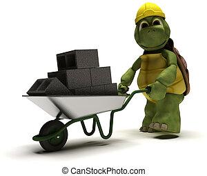 tortoise Builder with a wheel barrow carrying bricks - 3D...