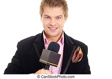 pretty man and microphone - nice young guy and microphone on...
