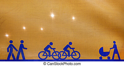 Pedestrians - Back lit yellow canvas with blue symbolic...