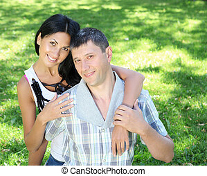 couple spending time together in the summer park