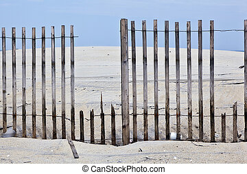 fence for protection of the dunes at the beautiful natural...