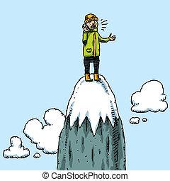 Mountaintop Phone Call - A climber takes a mobile phone call...
