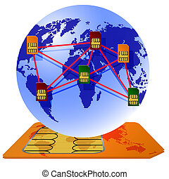 Globe Sim card connecting continents.