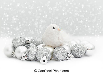Christmas birdies - Christmas card with birdies and silver...