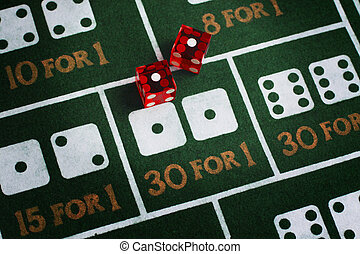 Snake Eyes - Casino dice roll snake eyes on a craps table...