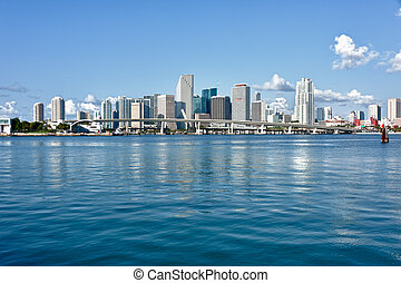 City of Miami Skyline - Miami Downtown skyline in daytime...