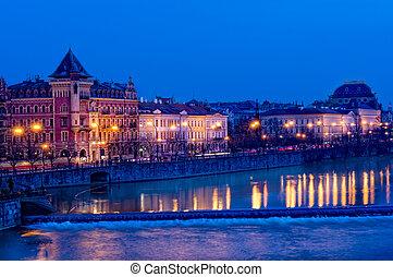 Downtown Prague at Night