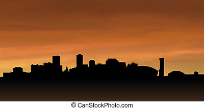New Orleans Silhouette - Skyline silhouette of the city of...