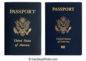 Old and new American passports isolated on a white...