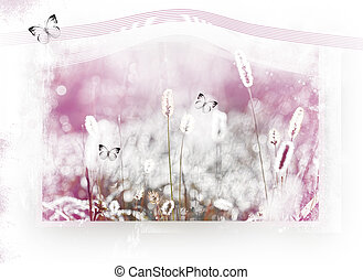 Dreamland-field with butterfly,on white background with...