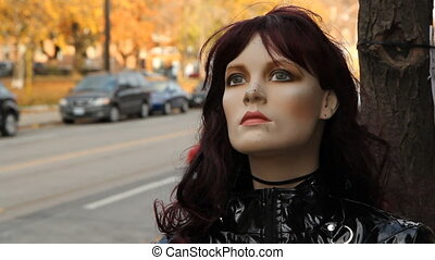 Street mannequin. - A mannequin on the sidewalk. Shallow...
