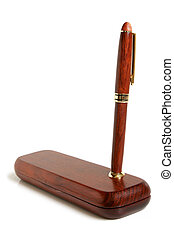 Mahogany ball pen with wooden case on a white background