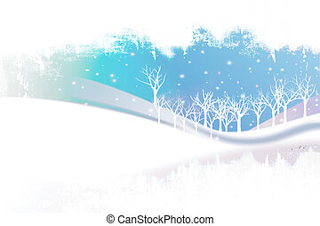 Snowy winter landscape with snowflakes and trees