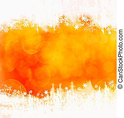 Orange winter background with snowflakes and copy space