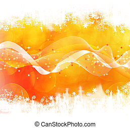 Orange winter background with waves and stars