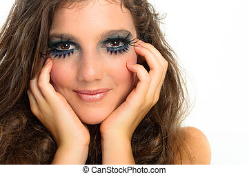 young beautiful girl with extreme makeup on white isolated background