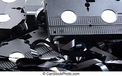 Old VHS tapes ripped apart