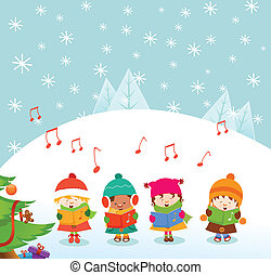 Caroler Kids - Cute caroler kids singing christmas songs