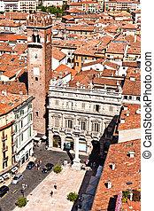 Torre dei Lamberti in Piazza delle Erbe, Verona, Italy