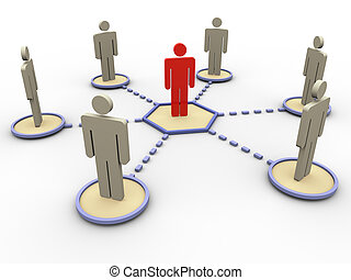 3d network of people - 3d render of leader in the network of...