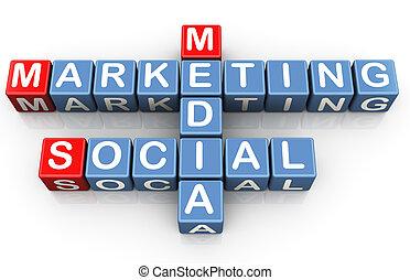 Social media marketing - 3d render of crossword of social...