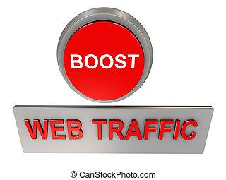 Web traffic boost - 3d render of web traffic boost button