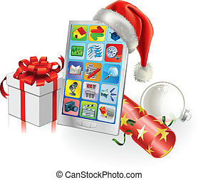 Christmas Mobile Phone - Christmas mobile phone with Santa...