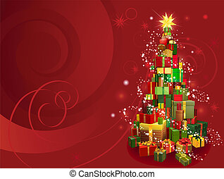 Red Christmas background - Red Christmas gift tree...