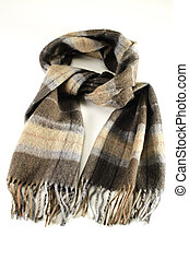 Woolen scarf over a white background