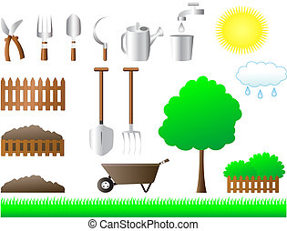 set of tools for house and garden - agriculture, cart,...