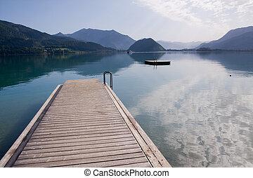beuatiful alpine lake with crystal water