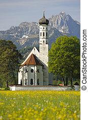 church st. coloman in upper bavaria, germany