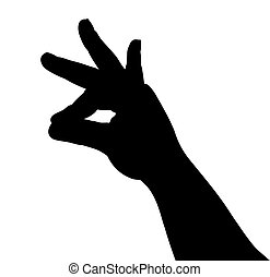 Silhouette of a hand on a white background