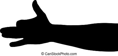 Silhouette of a hand on a white bac