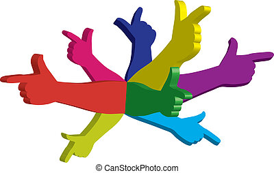 color hands - man thinking with color hands pointing in...