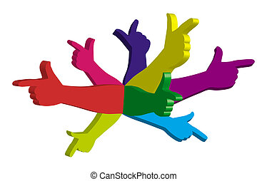 Color hands pointing in different directions. Symbol.