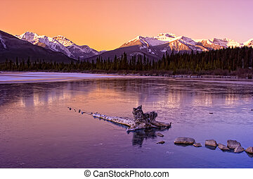 Winter Wonderland in the Rockies - Sunrise over the frozen...