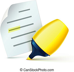 yellow marker - Vector illustration of cool fat yellow...