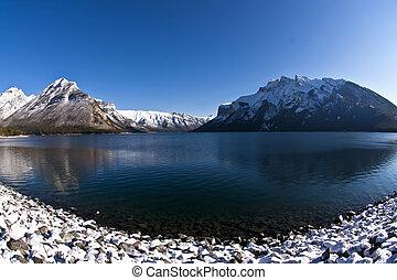 Lake Minnewanka at Banff - Icy waters of the Lake Minnewanka...