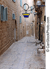 Narrow Street in Jaffa - Narrow cobbled street in the...