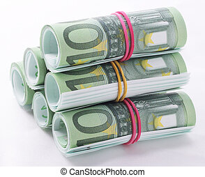 bundles - Bundles of 100 Euro bills with rubber as a pyramid